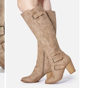 NWT Just Fab Taupe Sexy Heeled Buckle Boots